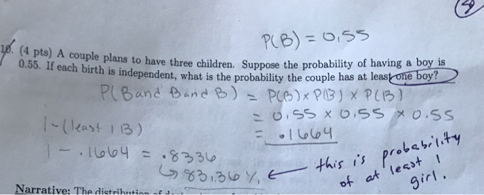 a couple plans to have three children. what is the probability that-0