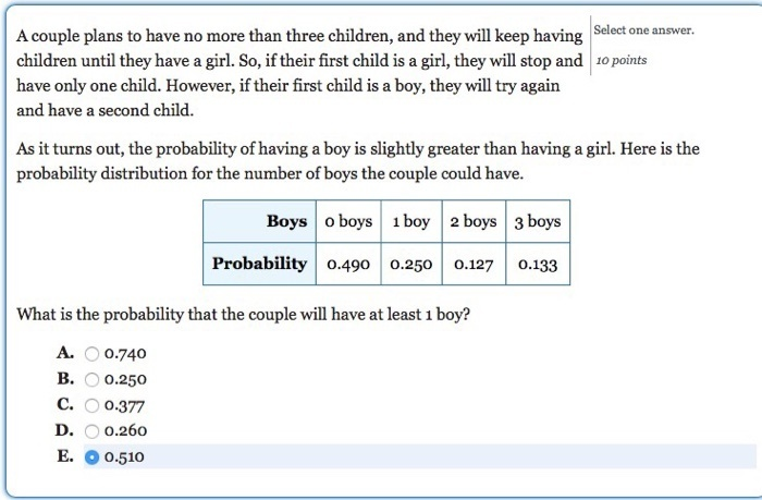 a couple plans to have three children. what is the probability that-1