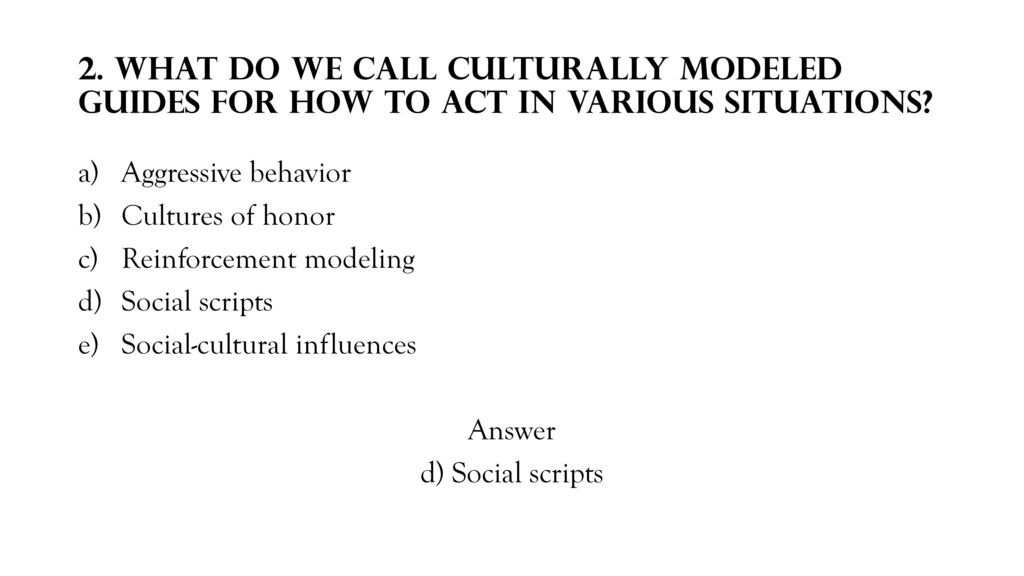 culturally modeled guides for how to act in various situations are called-0