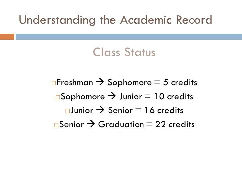 how many credits to be a sophomore-4