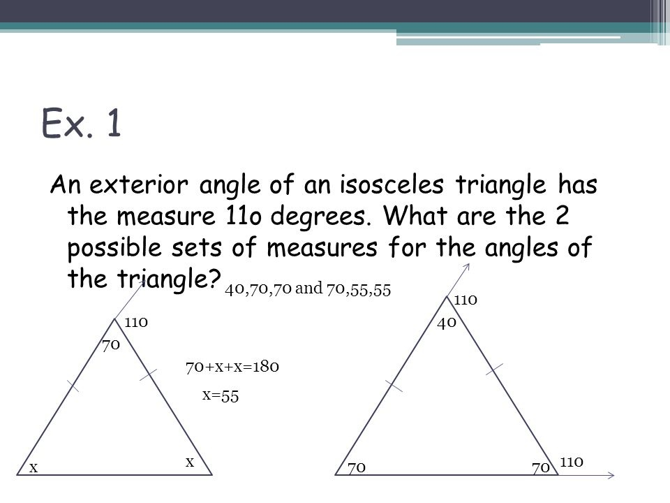 the vertex angle of an isosceles triangle measures 40°. what is the measure of a base angle?-0