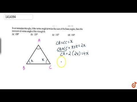 the vertex angle of an isosceles triangle measures 40°. what is the measure of a base angle?-1