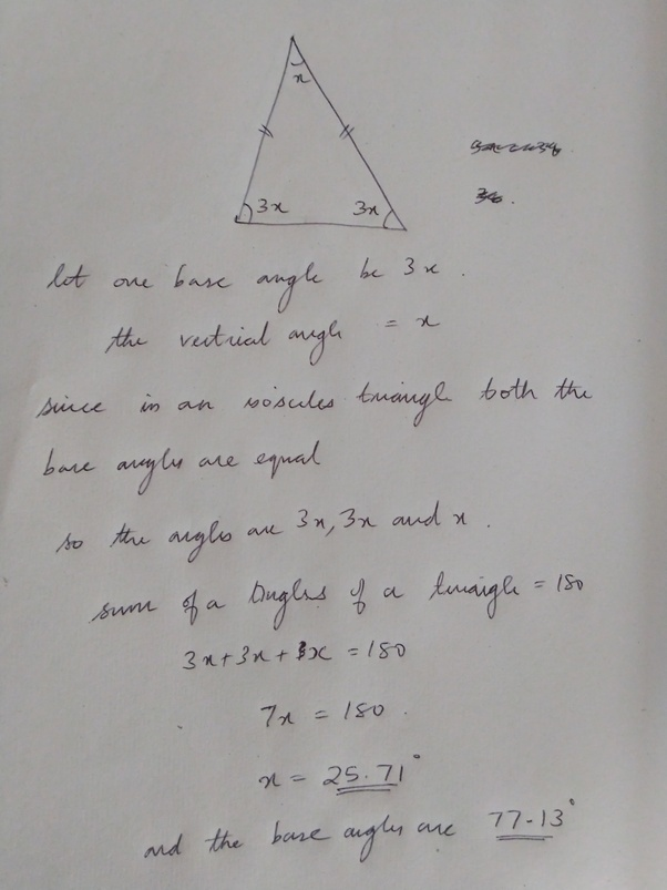 the vertex angle of an isosceles triangle measures 40°. what is the measure of a base angle?-3