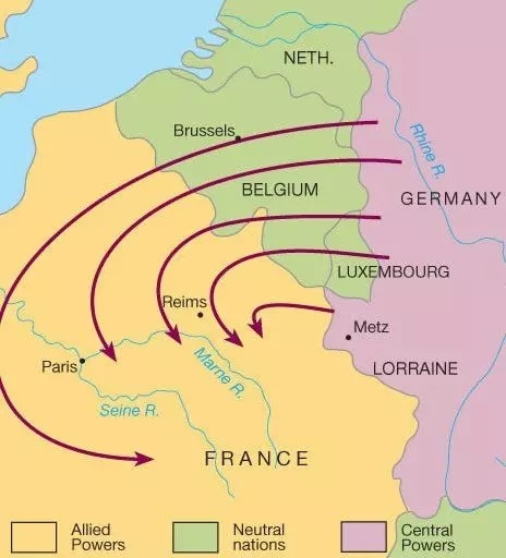 what aspect of the schlieffen plan is illustrated by this map?-1