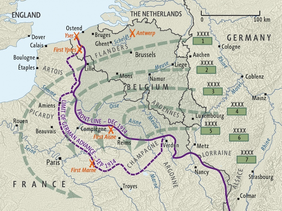 what aspect of the schlieffen plan is illustrated by this map?-2
