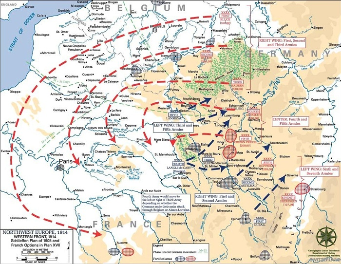 what aspect of the schlieffen plan is illustrated by this map?-3
