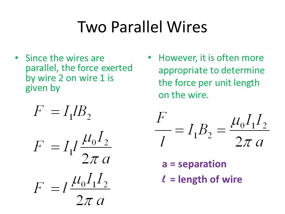 what is the force per unit length f/l between the two wires?-1