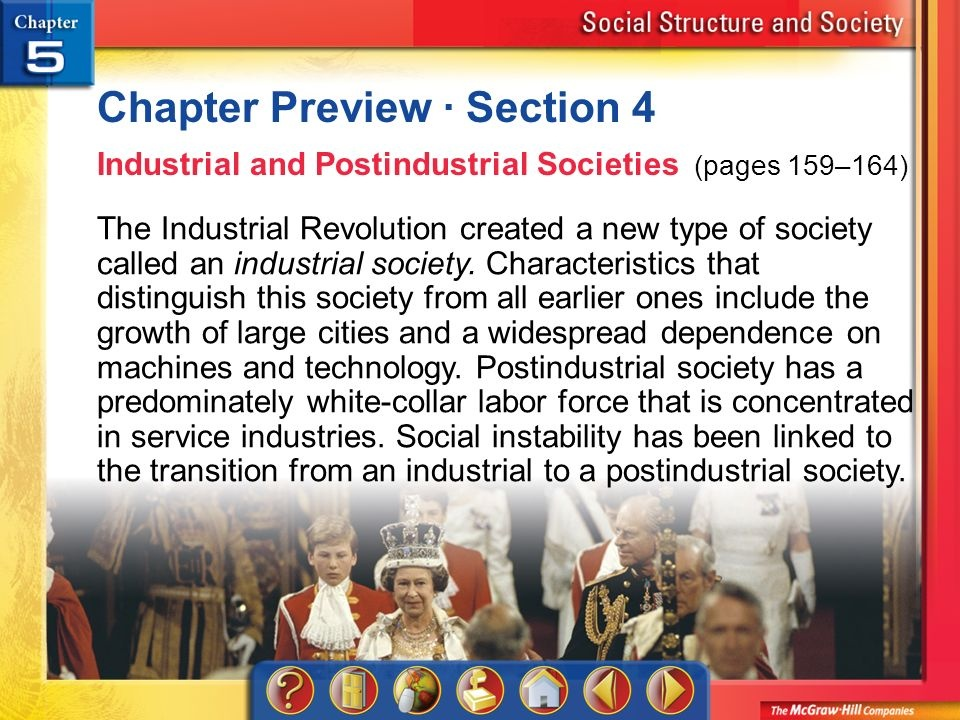 what is the key feature of postindustrial societies as it relates to the work force?-3