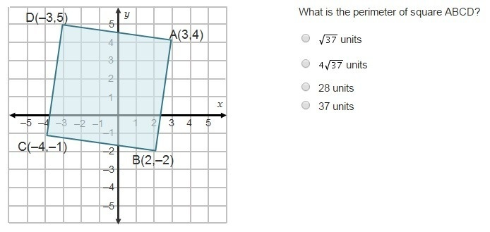 what is the perimeter of square abcd? units units 28 units 37 units-0