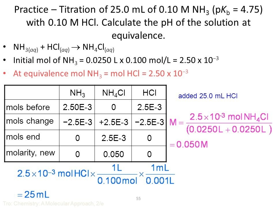 what is the ph at the equivalence point in the titration of 100 ml of 0.10 m hcl with 0.10 m naoh?-2