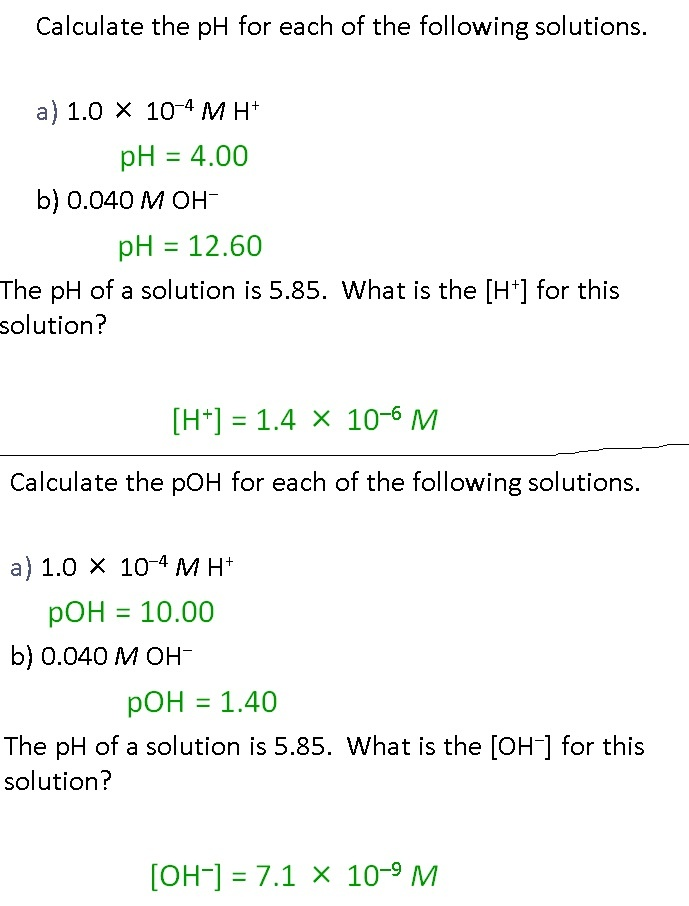 what is the ph of a solution with [oh-] = 1 × 10-4 m?-2