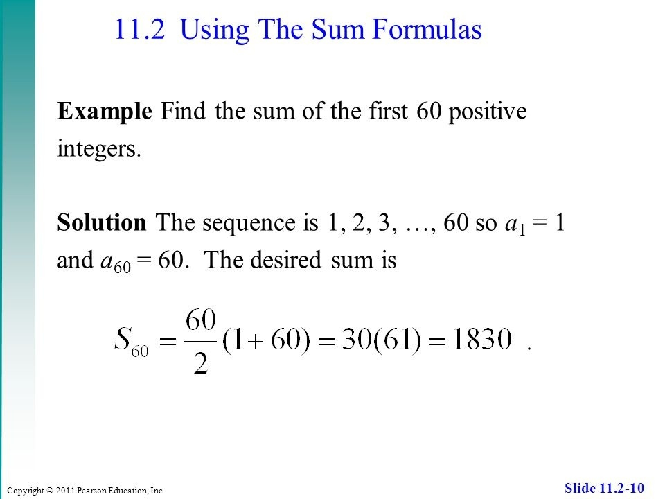 what is the sum of the first 60 positive integers-3