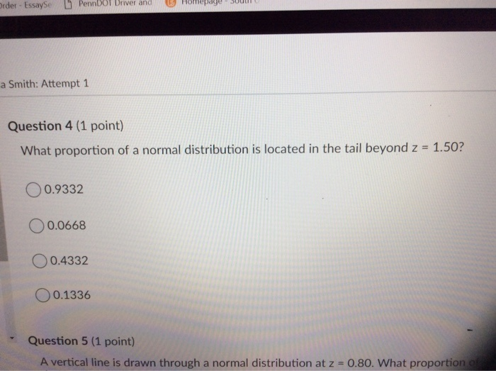 what proportion of a normal distribution is located in the tail beyond z = 1.50?-4