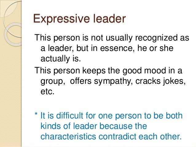 who is more likely to be an expressive leader?-1