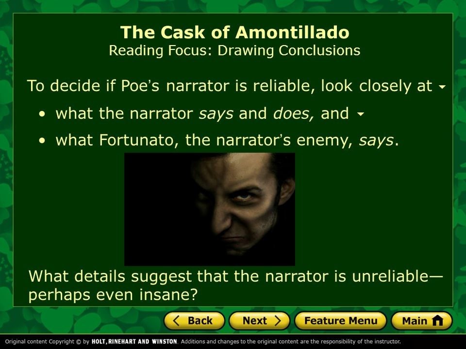 who is the narrator in the cask of amontillado-3