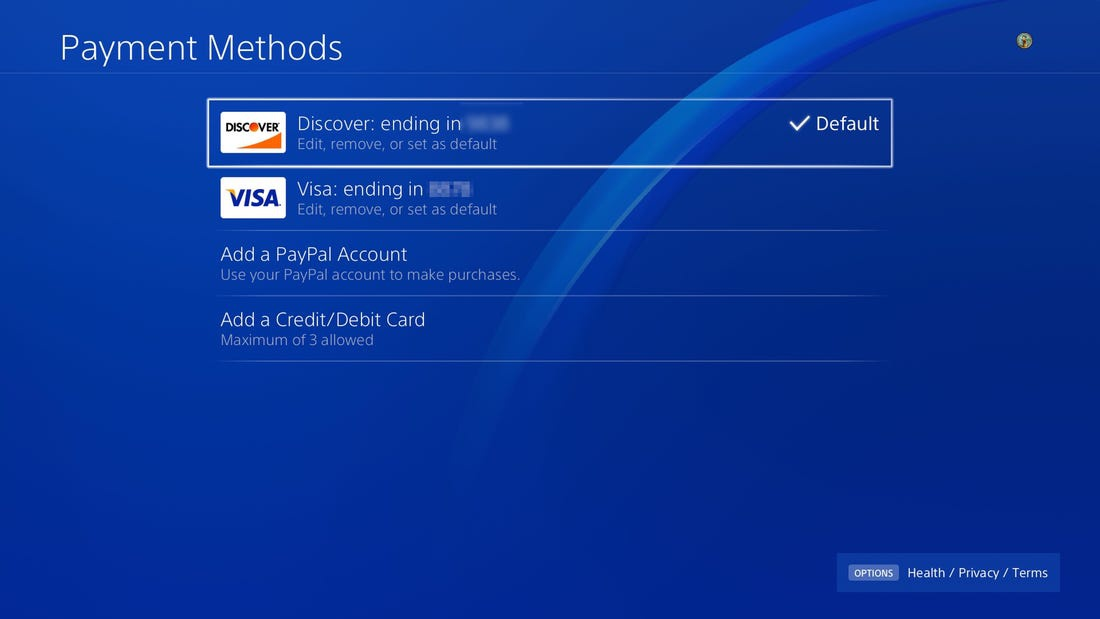 how to change payment method on ps4-3