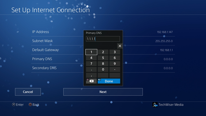 how to change dns on ps4-5