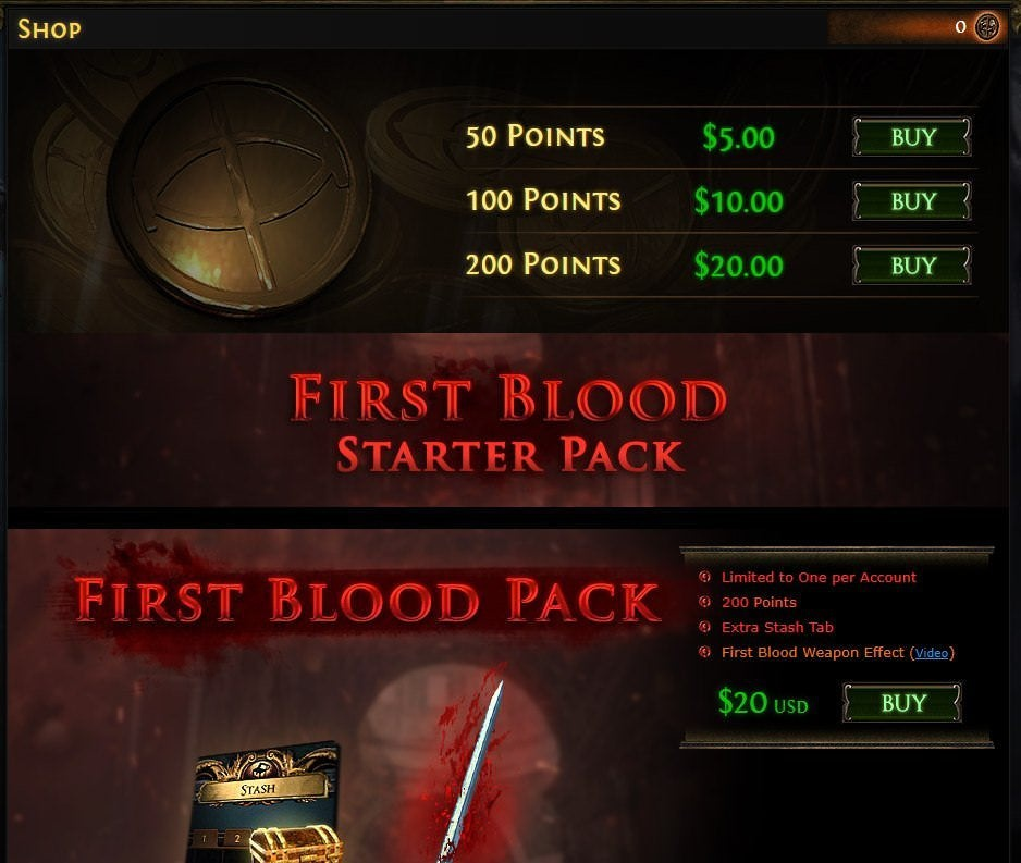 first blood starter pack poe-1
