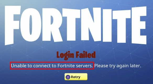 unable to login to fortnite servers pc-1