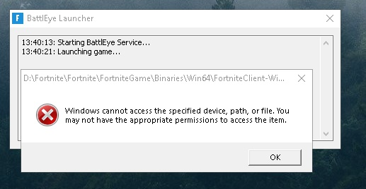 fortnite windows cannot access the specified device-0